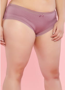 Plus Size Fishnet Lace Boyshort Panties - 7166068067468