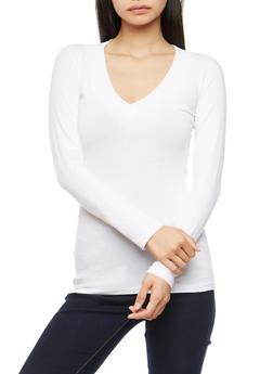 Basic Wide V Neck Top - WHITE - 7204054261573