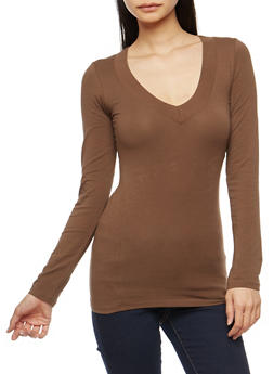 Basic Wide V Neck Top - 7204054261573