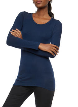 Basic Long Sleeve Crew Neck Top - 7204054262802