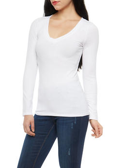 White Basic V Neck T Shirt - 7204054262902
