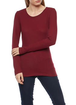 Basic Thermal Crew Neck Top - BURGUNDY - 7204054268920