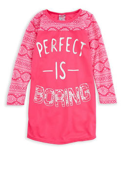 Girls 4-16 Perfect is Boring Nightgown - PINK - 7568054730320
