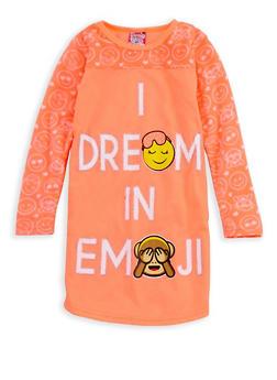 Girls 4-16 I Dream in Emoji Nightgown - ORANGE - 7568054730321