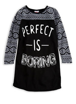 Girls 4-16 Perfect is Boring Graphic Nightgown - BLACK - 7568054730322