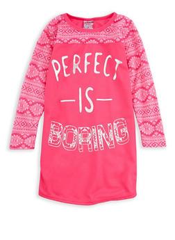 Girls 4-16 Perfect is Boring Graphic Nightgown - FUCHSIA - 7568054730322