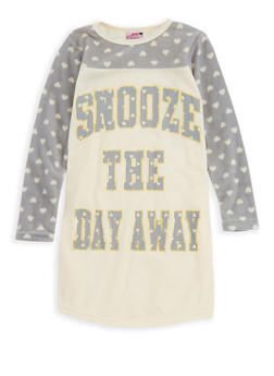 Girls 4-16 Snooze the Day Away Nightgown - WHITE - 7568054730323