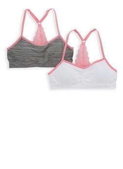 Girls 4-16 Set of 2 Lace Detail Cami Bras - 7568054730382