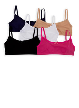 Girls 4-16 Set of 5 Solid Cami Bras - 7568054730461