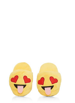 Girls 12-4 Silly Emoji Slippers - 7570057260003