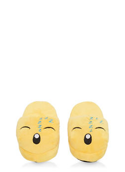 Girls 12-4 Sleeping Emoji Slippers - 7570057260004