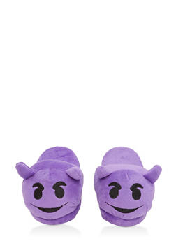 Girls 12-4 Devil Emoji Slippers - 7570057260006