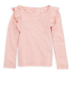 Girls 4-6x Long Sleeve Top with Ruffles - 7603061950001