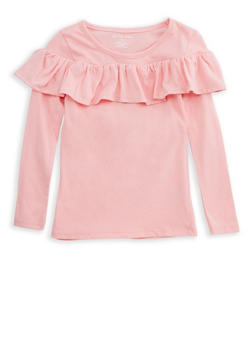 Girls 4-6x Ruffled Long Sleeve T Shirt - 7603061950003