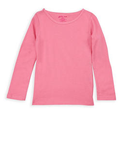 Girls 4-6x Long Sleeve Solid Top - 7603061950005