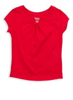 Girls 4-6x French Toast Ruched V Neck T Shirt - 7603068320017