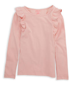 Girls 7-16 Long Sleeve Ruffled Front Solid Top - 7604061950001