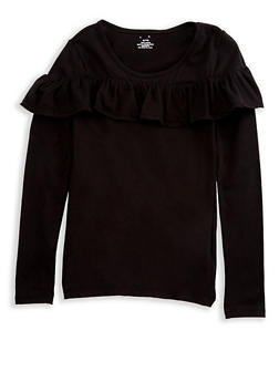 Girls 7-16 Long Sleeve Ruffled Front Solid Top - 7604061950002