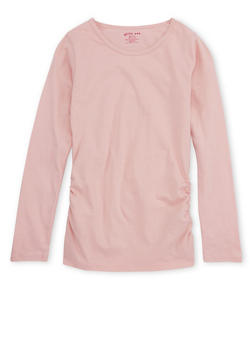 Girls 7-16 Long Sleeve Ruched Side Top - 7604061950004