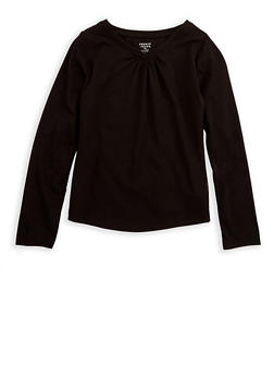 Girls 7-16 French Toast Long Sleeve V Neck Top - 7604068320001