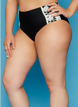 Plus Size High Waisted Bikini Bottoms with Crochet Trim - 8208055526164