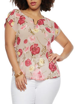 Plus Size Sheer Floral Metal Accent Top - 8400020624456