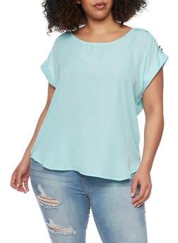 Plus Size Short Tab Sleeve Top - 8400051068763