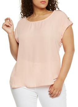 Plus Size Short Tab Sleeve Top - BLUSH - 8400051068763