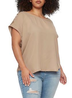 Plus Size Short Tab Sleeve Top - 8400051068763