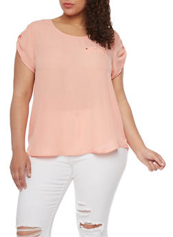 Plus Size Tabbed Short Sleeve Chiffon Top - 8400051069194