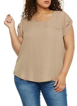 Plus Size Tabbed Short Sleeve Chiffon Top - 8400051069194