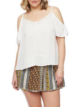 Plus Size Cold Shoulder Top with Crochet Trim - 8400054262331