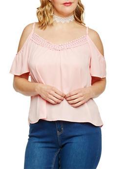 Plus Size Cold Shoulder Top with Crochet Trim - BLUSH - 8400054262331