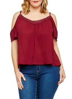 Plus Size Cold Shoulder Top with Crochet Trim - BURGUNDY - 8400054262331