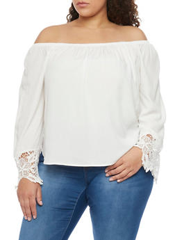 Plus Size Crochet Sleeve Ends Off the Shoulder Top - OFF WHITE - 8400054268501