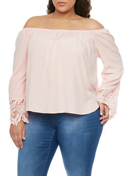 Plus Size Crochet Sleeve Ends Off the Shoulder Top - 8400054268501