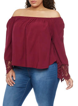 Plus Size Crochet Sleeve Ends Off the Shoulder Top - BURGUNDY - 8400054268501