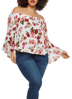 Plus Size Floral Off the Shoulder Top - 8400054268591
