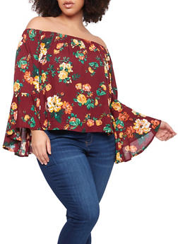 Plus Size Floral Off the Shoulder Top - 8400054268591