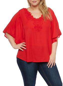 Plus Size Swing Top with Crochet Neckline - 8402056125454