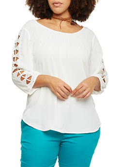 Plus Size 3/4 Sleeve Top with Crochet Insets - IVORY - 8402056125455