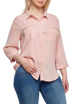 Plus Size Shirt with Zipper Pockets - 8402062700918