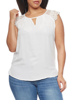 Plus Size Chiffon Double Lace Cap Sleeve Keyhole Front Top - WHITE - 8402072681180