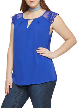 Plus Size Chiffon Double Lace Cap Sleeve Keyhole Front Top - 8402072681180