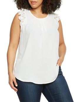 Plus Size Crochet Cap Sleeve Top - WHITE - 8402072681181
