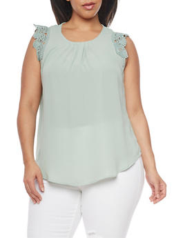 Plus Size Crochet Cap Sleeve Top - 8402072681181