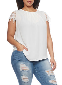 Plus Size Crochet Cap Sleeve Top - 8402072685117