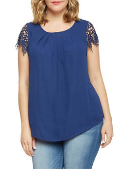 Plus Size Crochet Cap Sleeve Top - 8402072685117