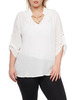 Plus Size Blouse with Removable Necklace - IVORY - 8402072980043