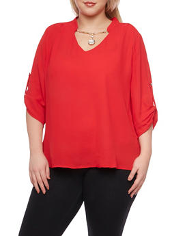 Plus Size Blouse with Removable Necklace - 8402072980043